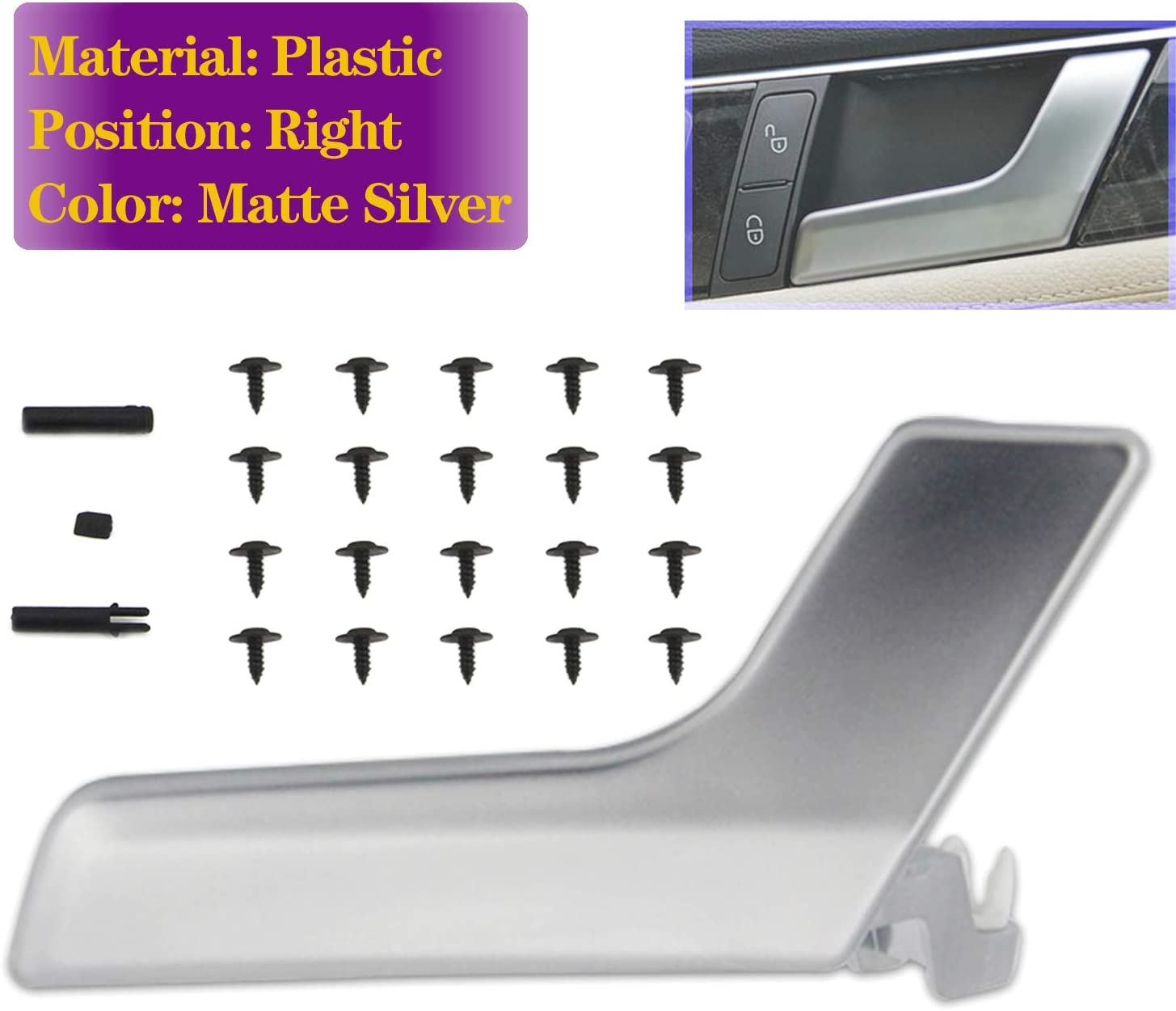 Aluminum Alloy FEXON Interior Door Handle Repair Kit Left Side Replacement for Mercedes-Benz W204 C230 C250 C280 C300 C350 C400 C63 AMG X204 GLK250 GLK280 GLK300 GLK350 Shiny Silver 2047201171