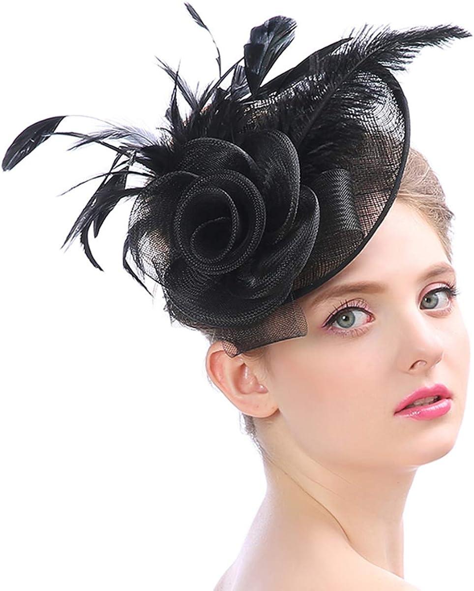 YSJOY sale Womens Sinamay Ostrich Feather Fascinators Kentucky Flower favorite