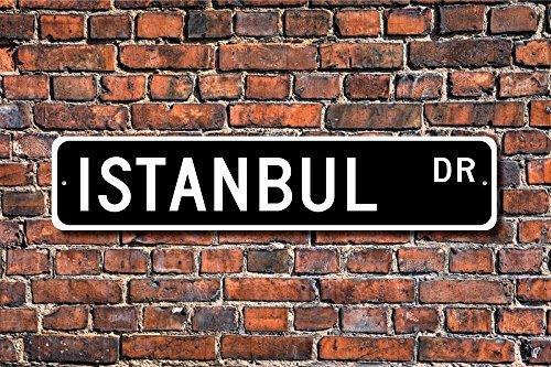 Fhdang Decor Plaque en métal avec inscription Istanbul - Cadeau d'Istanbul - Souvenir du visiteur d'Istanbul - 10,2 x 45,7 cm