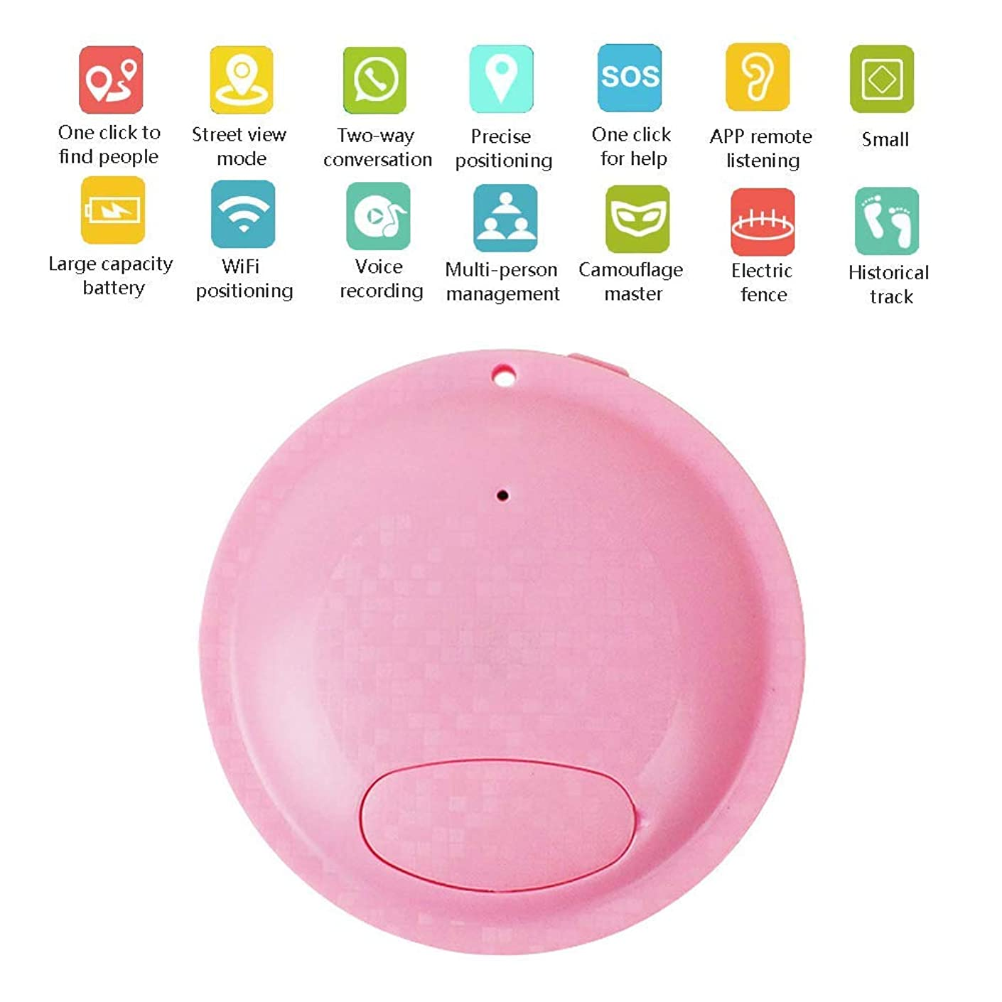 Mini Portable Hidden Spy GPS Tracker Device Smart Real-Time Multifunctional Locator Monitoring System Personal Property Vehicle Pet,Pink