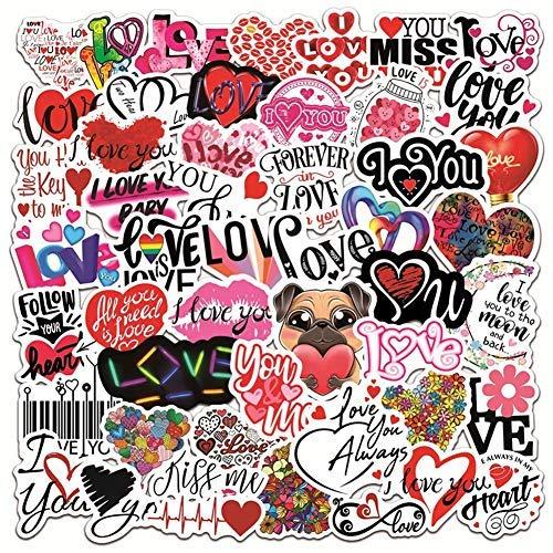 JZLMF 50 pegatinas de amor, para bicicleta, botella de agua, portátil, bicicleta, nevera, taza, maleta, teléfono móvil, monopatín, pegatinas con texto 'I Love You'