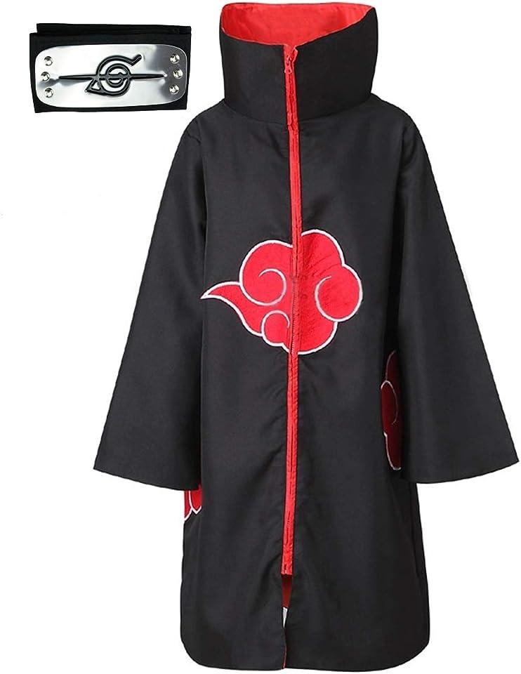 Afoxsos Akatsuki Cloak Costume 3Pcs with Headband and Ring, Itachi Cosplay Costume Long Robe