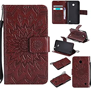 Aipyy Nokia 630/635 Case,[Slim][Card Slot] Wallet Style Folio Flip PU Leather Emboss Sunflower Case Magnetic Closure Kickstand Cover with Wrist Strap for Nokia Lumia 630/N630/635/N635 [Brown]