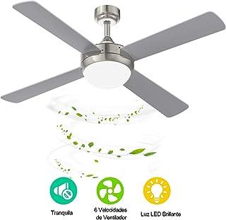 YUNLIGHTS Ventilador de Techo con Luz LED, Metal, Mando a Distancia, Ceiling Fan con 52 pulgadas /132cm Aspas Reversibles en Plata, Ventiladores para el Techo con Lámpara