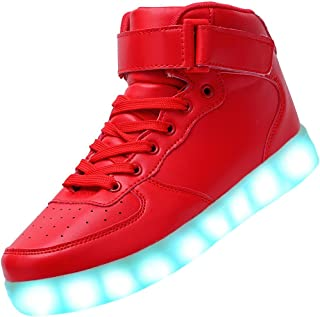 Odema Unisex LED Shoes High Top Breathable Sneakers Light Up Shoes for Women Men Girls Boys