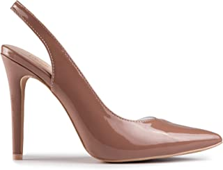 Baldi Women's Kirstyn Beige/Black high Heel mid Dress Shoes High Heel Classy Summer Shoes, Sandals Pointy Toe Comfy for Office and Outdoor