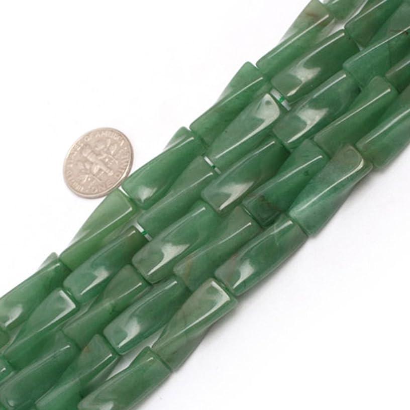 9x20mm Twist Column Gemstone Green Aventurine Jade Beads Strand 15 Inch