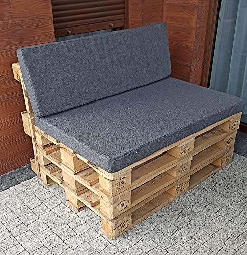 Palettenkissen Sitzkissen für Europaletten Kissen Rückenkissen Bezug Schaumstoffplatte Paletenmöbel Gartenmöbel (Grau, Bezug+Schaumstoff 40x120cm)