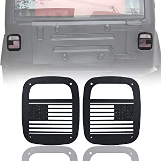 BESKE Jeep Wrangler Tail Lamp Covers Rear Light Guards US American Flag for Jeep Wrangler TJ 1997-2006