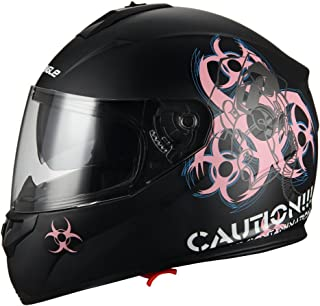 """Biohazard"" Full Face Matte Pink Dual Visor Street Bike Motorcycle Helmet by Triangle [DOT] (Large)"