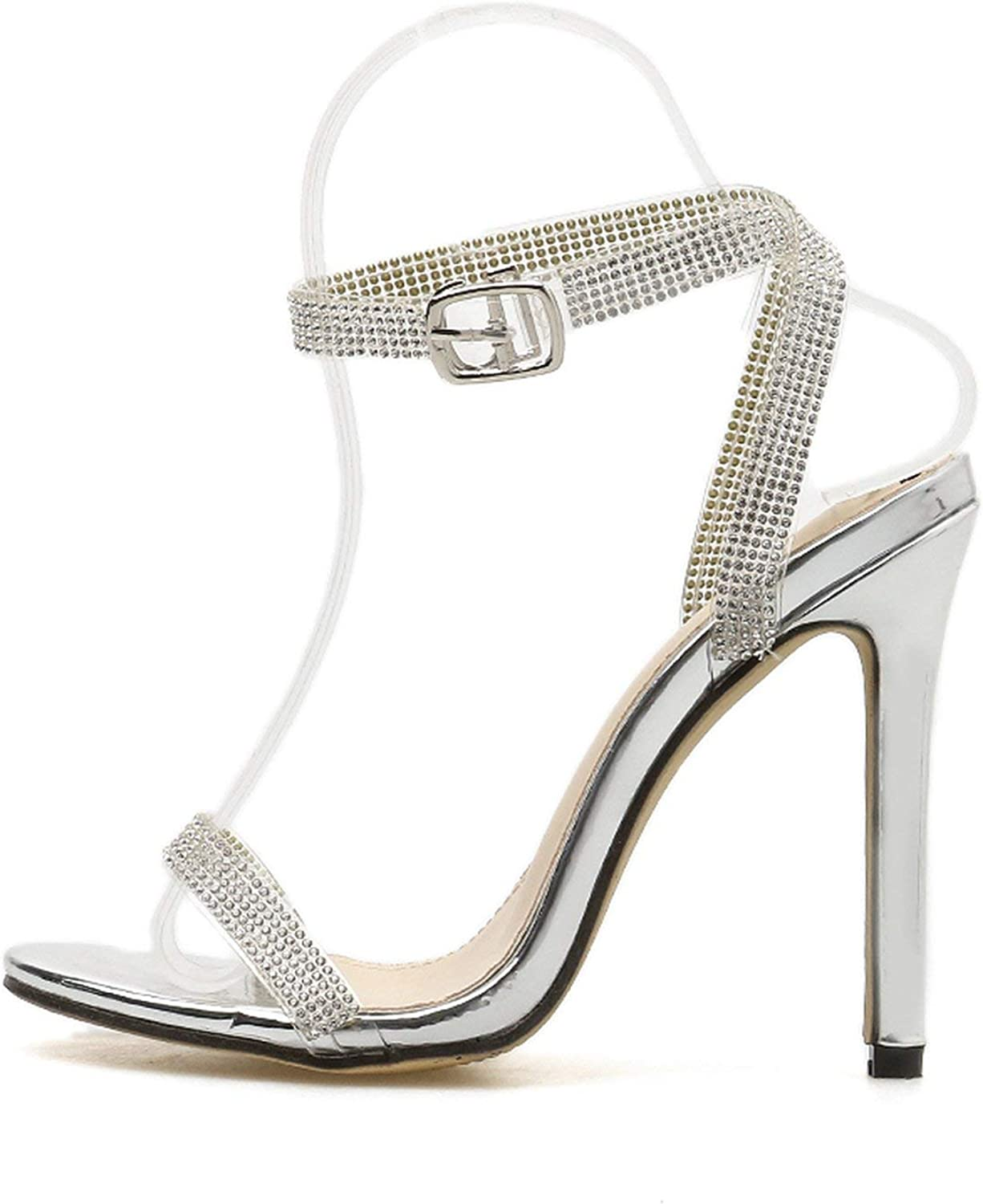 Our ideas Crystal High Heels Sandals Sexy Bling Thin Heel Women Sandals Elegant Party Wedding shoes Women Ankle Strap