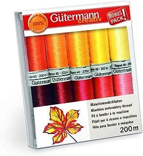 Gutermann Rayon 40 Autumn Sunrise Machine Embroidery Thread Set 10 x 200m Reels