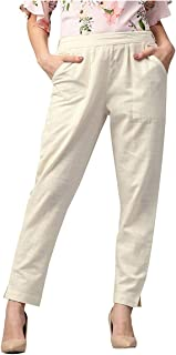 Pink City Souvenirs Cotton Flex Off-White Casual Women Pant/Palazzo/Palazzo Pant/Trouser/Slim Fit Pant/Pencil Pants