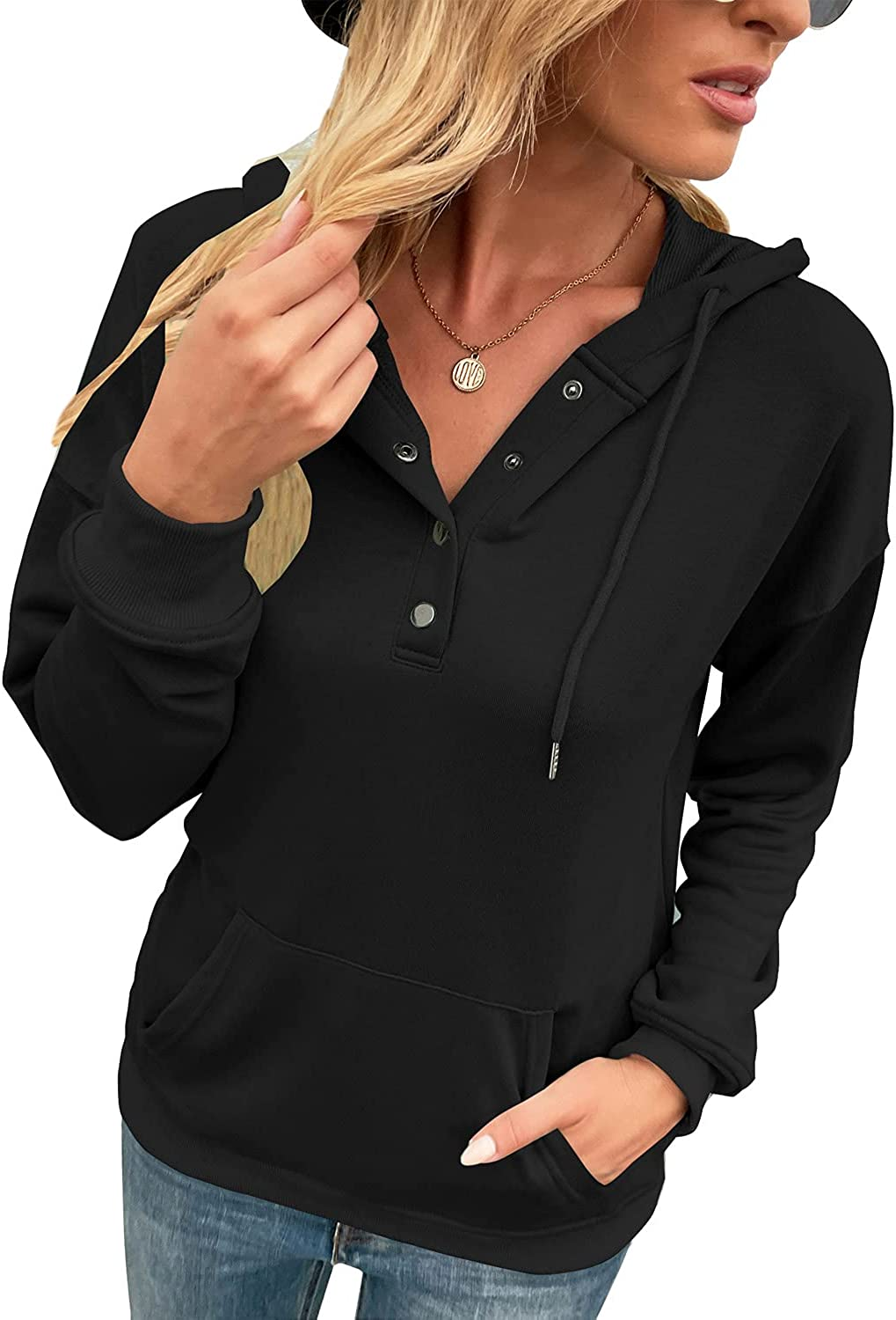 LOLONG Womens Long Sleeve Lapel Zipper Sweatshirt Casual Stand Collar Pullover with Pockets