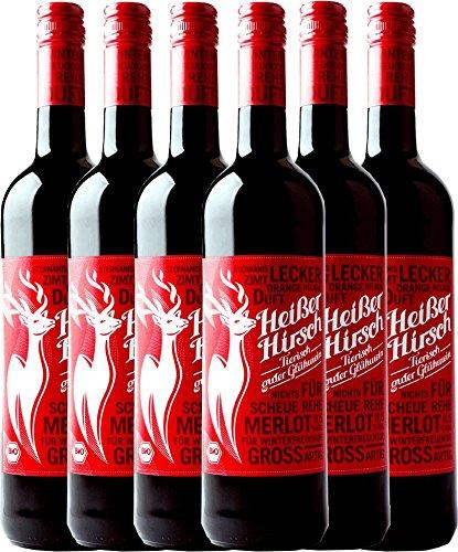 6er Vorteilspaket - Roter Bio-Glühwein - Heißer Hirsch | veganer Glühwein | roter Glühwein aus Deutschland in Bio-Qualität | 6 x 0,75 Liter
