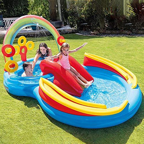 Centro de juegos inflable, 297 x 193 x 134 cm, piscina de diversión acuática, piscina de agua rociada para niños con toboganes de rebote para niños a partir de 3 años.