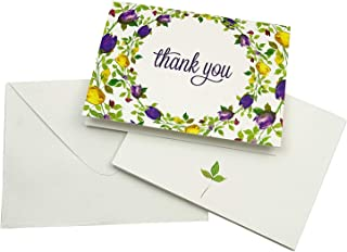 Darling Souvenir Pack of 100 Pcs Floral Wedding Thank You Greeting Cards with White Envelopes