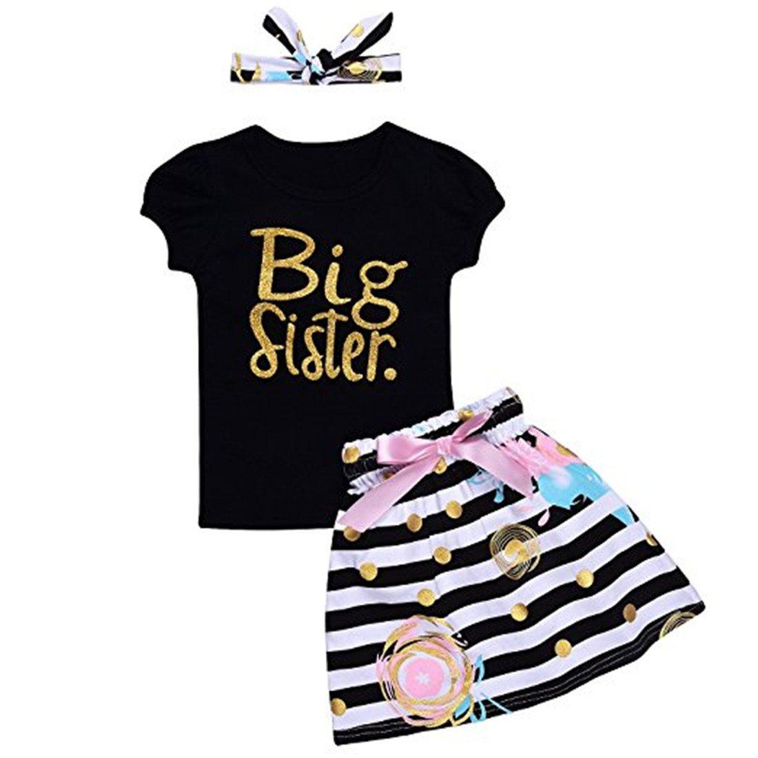 Little Big Sister Matching Romper T-Shirt Polka Dot Skirt Headband Outfits Set