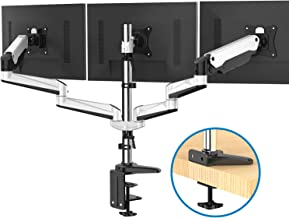 Triple Monitor Stand - Full Motion Articulating Aluminum Gas Spring Monitor Mount Fit Three 17 to 32 inch LCD Computer Screens with Clamp, Grommet Kit