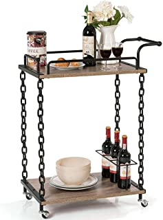 lunanice Commercial Home Modern Chain Style Serving bar cart 29''×16''×36.5'' (L×W×H) 2-Tier Rolling Kitchen Bar Serving Cart Wine Trolley Chain Style Kitchen Island