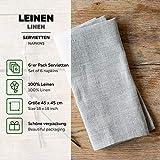 6-er Pack Leinen Stoffservietten – Servietten – Leinenservietten – 45×45 cm – Bauerleinen – Farbe Natur Braun - 4