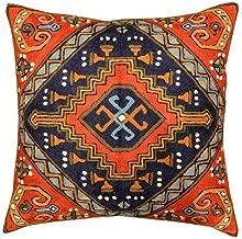 Kashmir Designs Navajo Tribal Kilim Aztec Red Navy Hand Embroidered Wool 18
