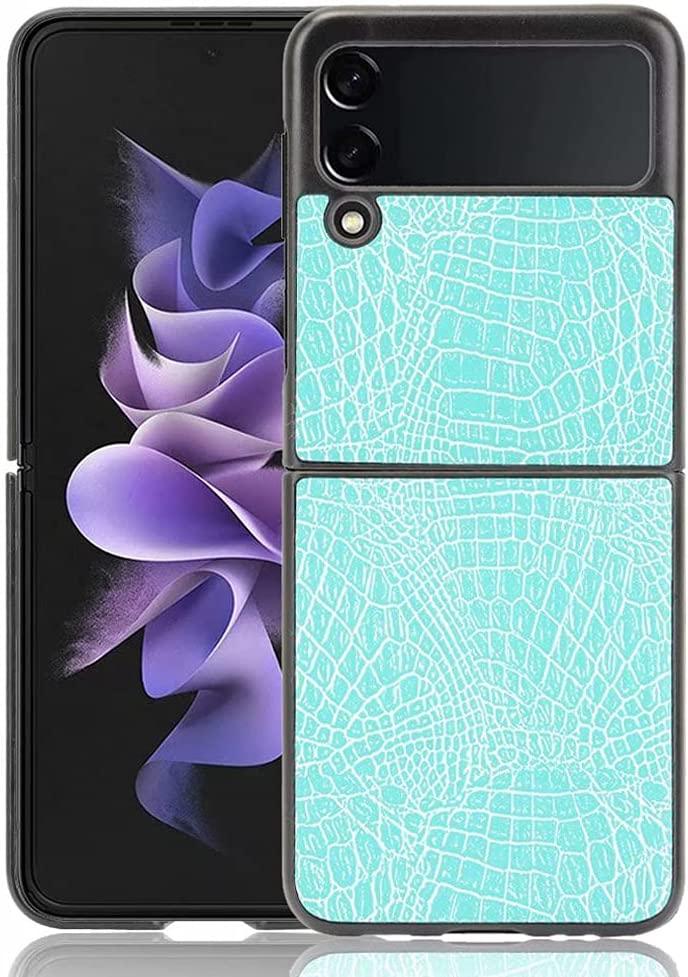 Ranyi for Samsung Galaxy Z Flip 3 5G Case, Slim Flexible Crocodile Pattern Leather Texture Case Shock Absorbing Full Body Protection Leather Bumper Case for Samsung Galaxy Z Flip 3 5G 2021 -Mint