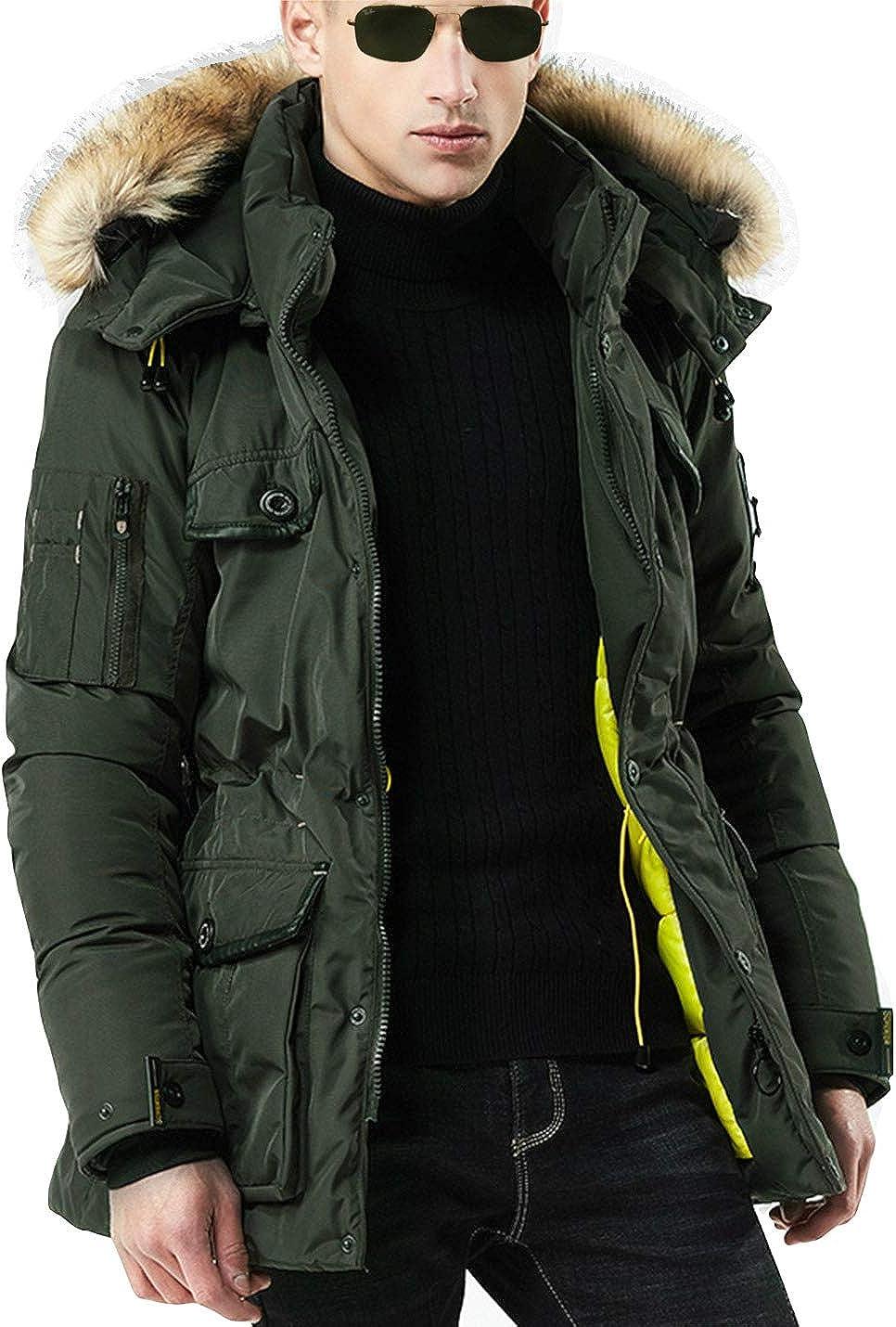 Omoone Men's Drawstring Faux Fur Hooded Long Slim Padded Jacket Windbreaker