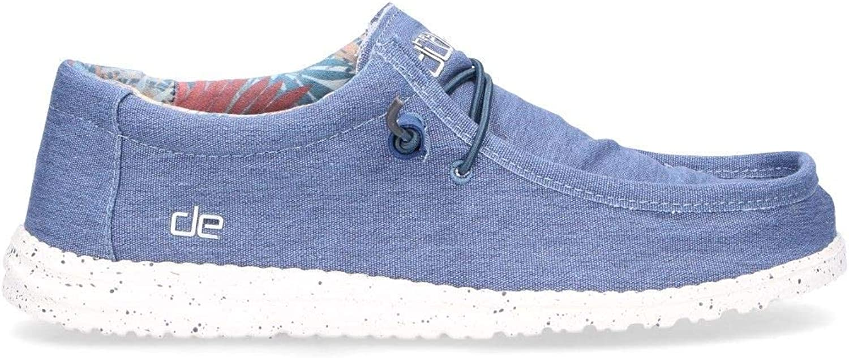 Hej Dude Dude Dude herrar WALLHIND Light blå Fabric Loafers  blixtnedslag