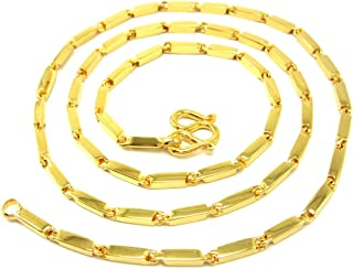 Classic Thai Bar Link Baht Chain Aviator Style 24k Gold Plated 18