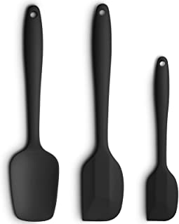 Silicone Spatula 3-piece Set, High Heat-Resistant Good Grips Spatulas, Non-stick Rubber Spatulas with Stainless Steel Core, Black