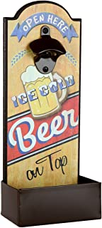 Lily's Home Vintage-Style Beer Bottle Cap Opener With Cap Catcher, Features Ice Cold Beer on Tap Saying, Ideal Father's Day Gift, Use as Man Cave or Bar Decoration (14.25