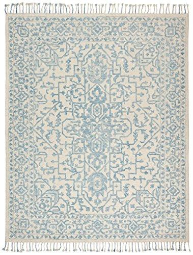 Stone & Beam New England Tassled Wool Farmhouse Area Rug, 4 x 6 Foot, Blue and Cream