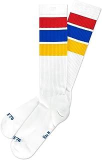 Spirit of 76, Oldschool Classix Hi   Calcetines de patinaje retro con rayas   blanco, azul, rojo y amarillo   hasta la rodilla   elegantes unisex