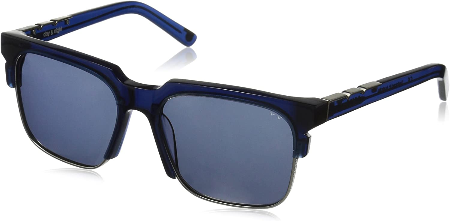 Pared Eyewear Day & Night Navy With Gunmetal Rim Wire Solid Grey Lenses PE1501NS Square Sunglasses