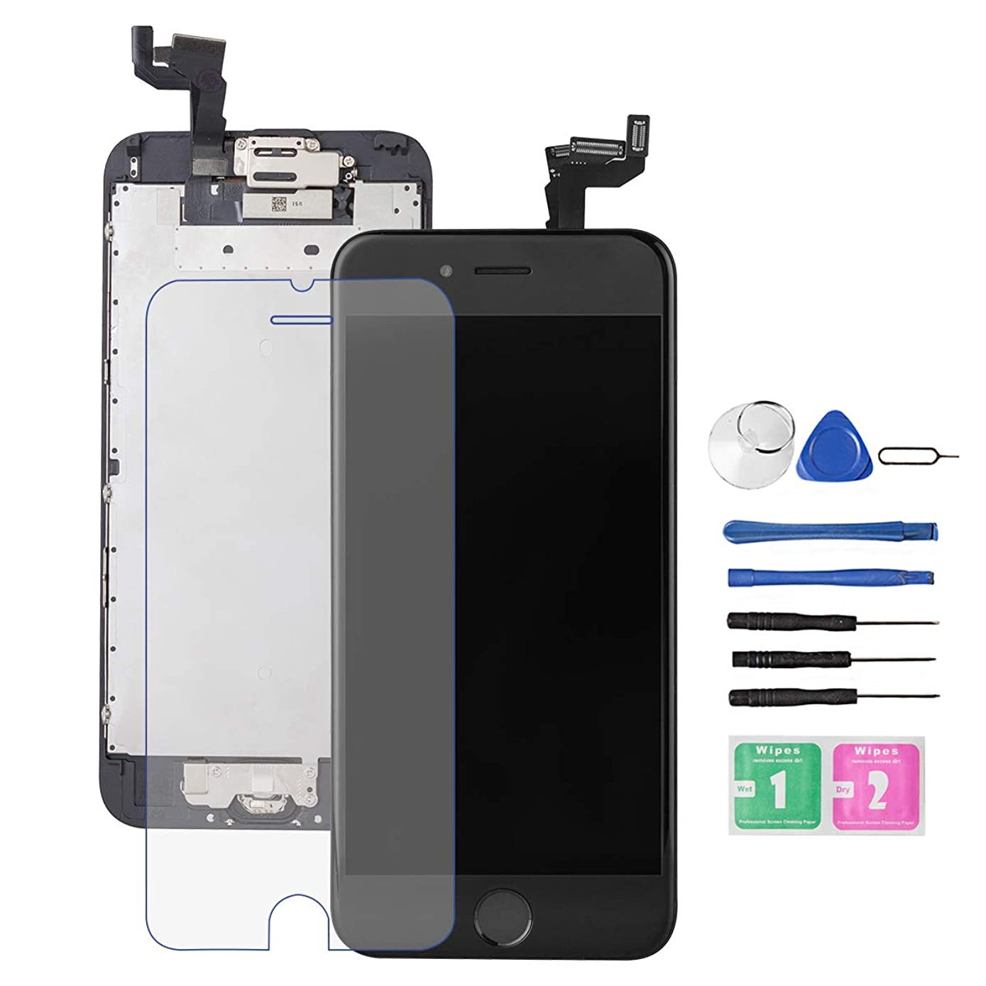 for iPhone 6S Screen Replacement Black,Drscreen LCD Touch Digitizer Complete Display for A1586, A1589, A1549, ith Home Button Proximity Sensor Ear Speaker Front Camera Screen Protector and Repair Tool