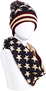 American Flag Knitted Hat, Scarf, Gloves Set