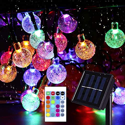 16 Colors Globe Solar String Lights, 16.9Ft 50 Crystal Balls Outdoor String Lights Solar Powered Waterproof Patio Lights with Remote Decorative Lights for Garden Gazebo Yard Party Christmas Tree Decor