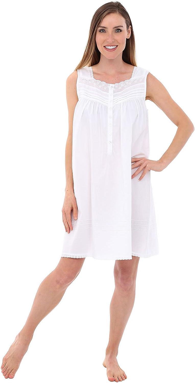 Alexander Del Rossa Womens Edith Cotton Nightgown, Sleeveless Victorian Sleepwear