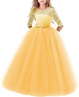 47240188e Girls Flower Vintage Floral Lace 3/4 Sleeves Floor Length Dress Wedding  Party Evening Formal