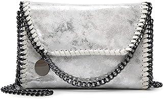 Valleycomfy bolso de mujer elegante bolso de hombro correa de cadena metálica bolso de cuero de la PU bolsos cruzados bols...