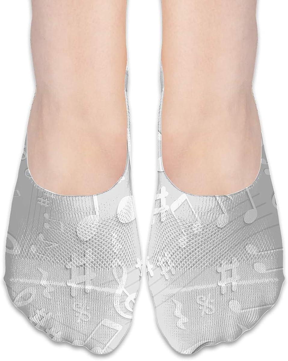 No Show Socks Women Men For Gray 3d Notes Flats Cotton Ultra Low Cut Liner Socks Non Slip