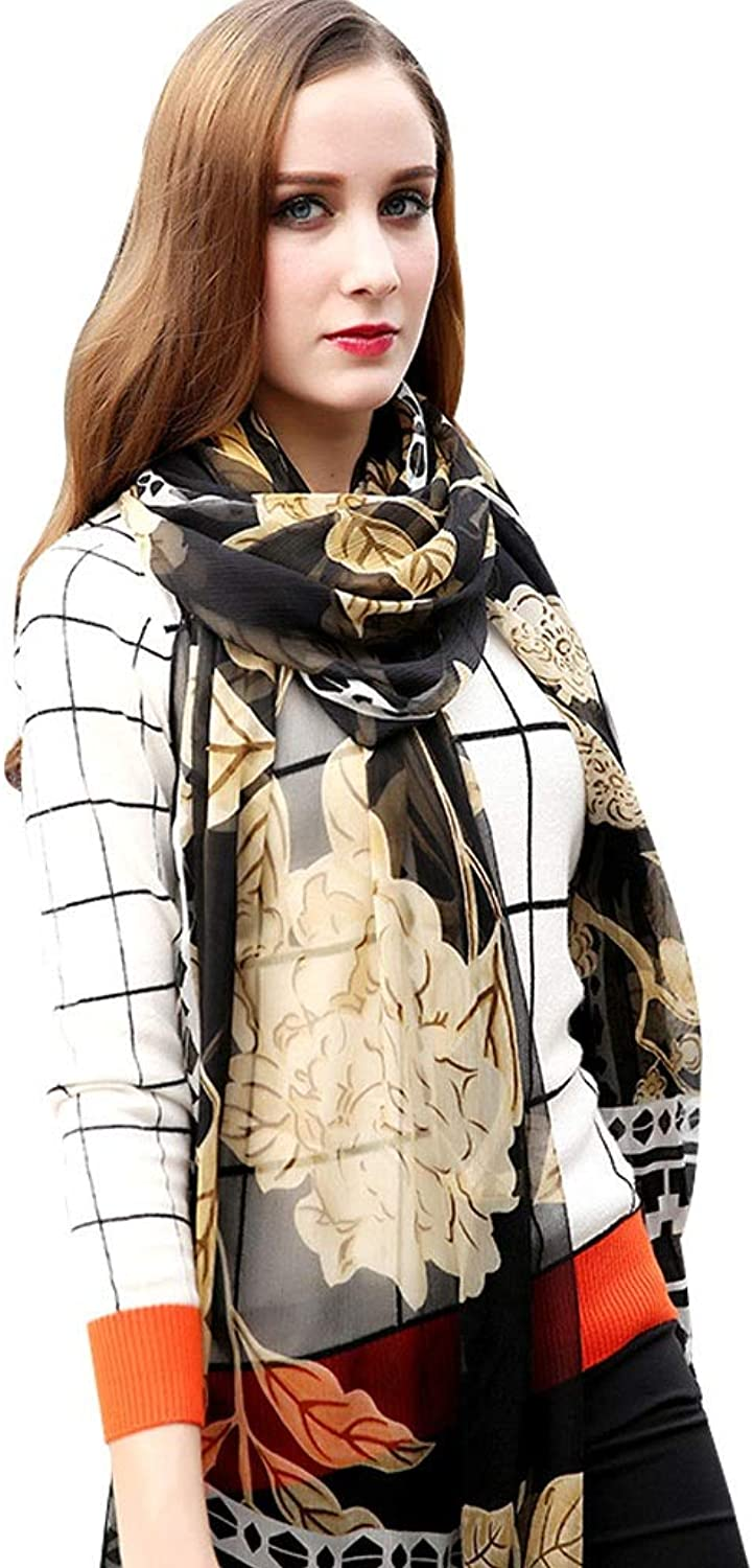 Wraps Scarf Ladies Silk Scarves AntiUV Cape Black Sunscreen Capes Vacation Wrap Shawl Gift Package 96  43 Inches Scarves (color   Black)