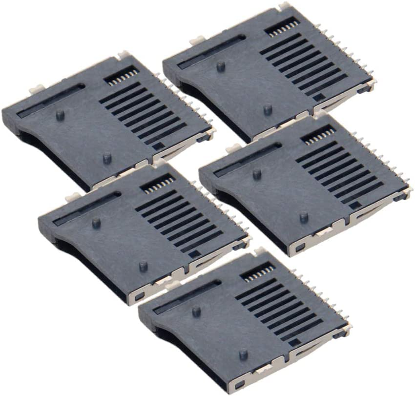Fielect 5pcs SD Memory Card Socket Holder Spring Loaded Push Type PCB Mount Connector 9 Pin