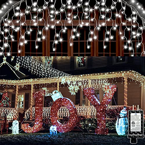 Led Icicle Lights Outdoor Christmas Decorations Lights 65.6 FT 640 LED 120 Drops 8 Modes Hezbjiti Fairy String Lights Curtain Light String for Bedroom Patio Yard Garden Wedding Party (Cold White)