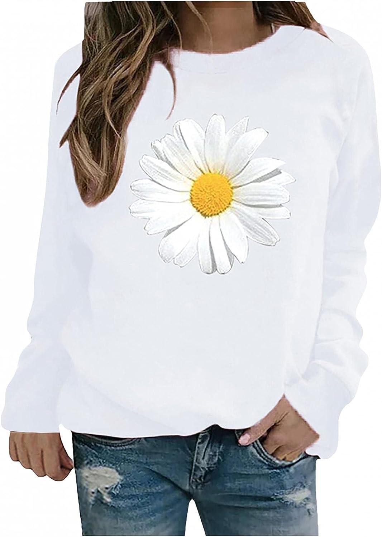 ONHUON Long Sleeve Shirts for Women,Womens Crewneck Sweatshirts Trendy Plus Size Flowers Graphic Teen Girls Fall Pullover