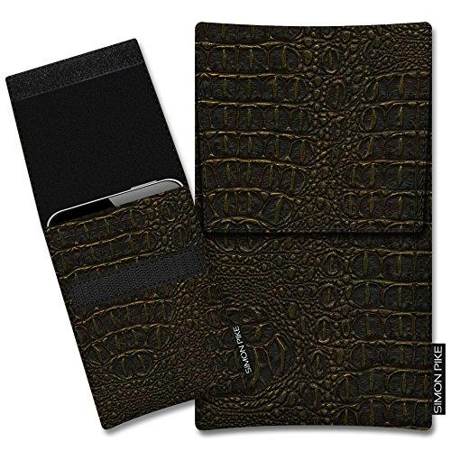 SIMON PIKE Schutztasche Sidney, kompatibel mit BlackBerry Porsche Design P9983, in 01 Gold Kroko Kunstleder Handyhülle Schutzhülle Handytasche