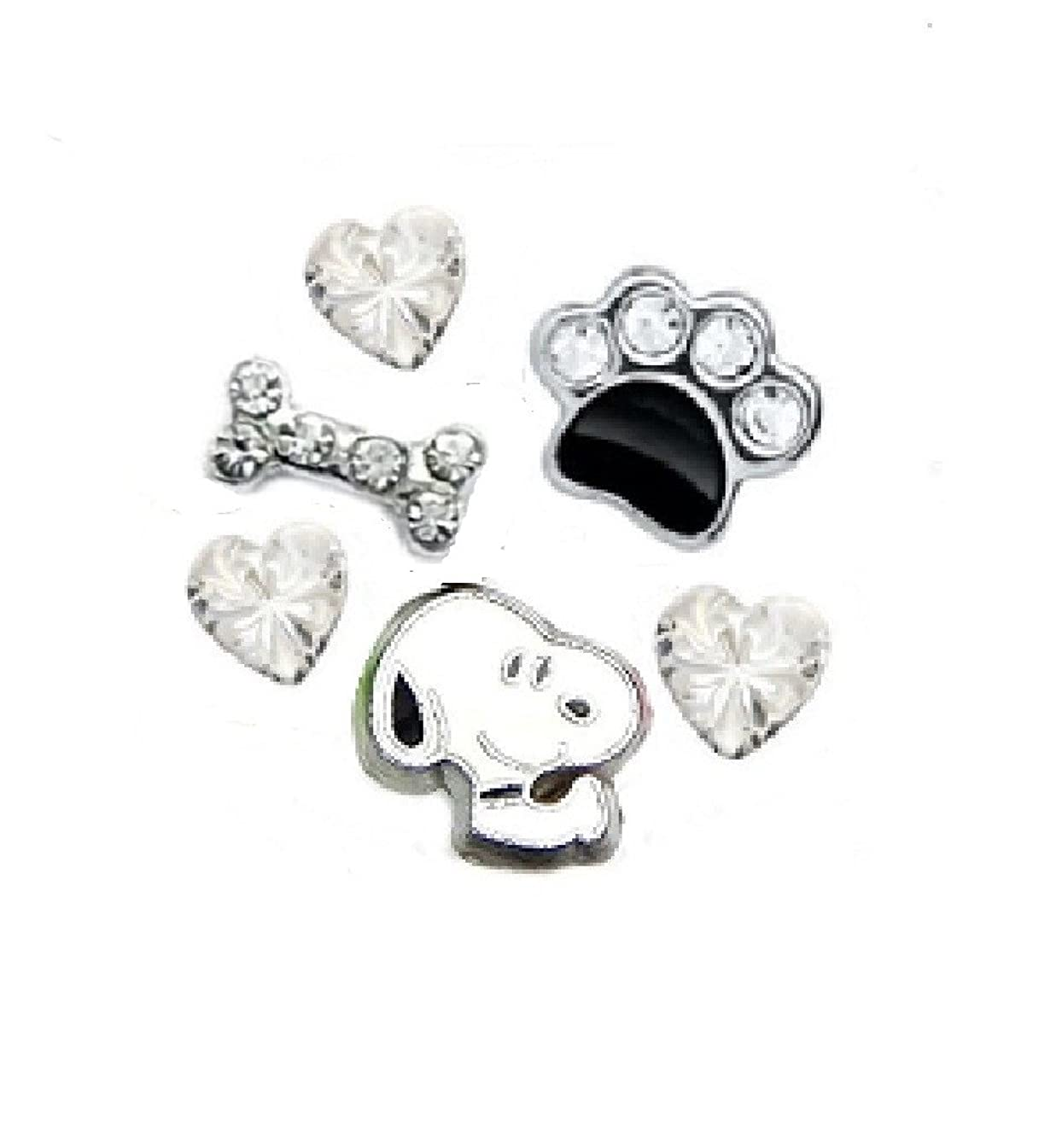 Cherityne Snoopy Dog Themed Set of 6 Floating Chams for Locket Pendants