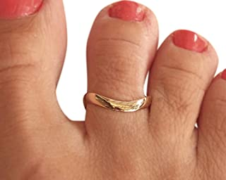 Gold Toe Ring, Handmade Toe Ring, Gold Knuckle Ring, Wave Band Ring
