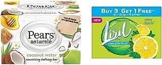 Pears Naturalé Coconut Nourishing Soap Bar, 125 g (Pack of 3) & Liril Lemon and Tea Tree Oil Soap, 125 g (Buy 3 Get 75g Free)
